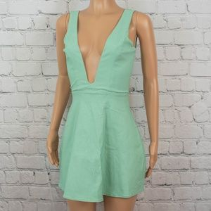 Tobi deep plunge mint dress